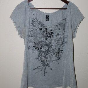 🔥Gray Floral shirt